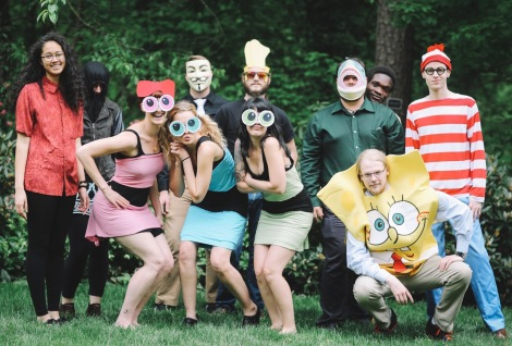 image 10, Nadja and her research group pose as cartoon characters